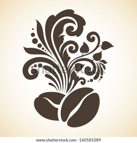 Decorative ornamental coffee beans and floral design elements - stock vector