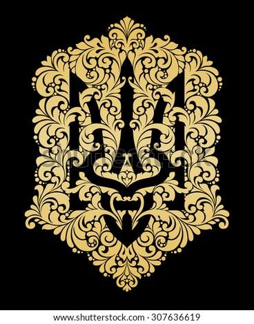 Decorative ornamental national symbol emblem coat of arms Ukraine Ethnic Ukrainian pattern Gold trident on black background. Vector Illustration for banner, print, card, souvenir - stock vector