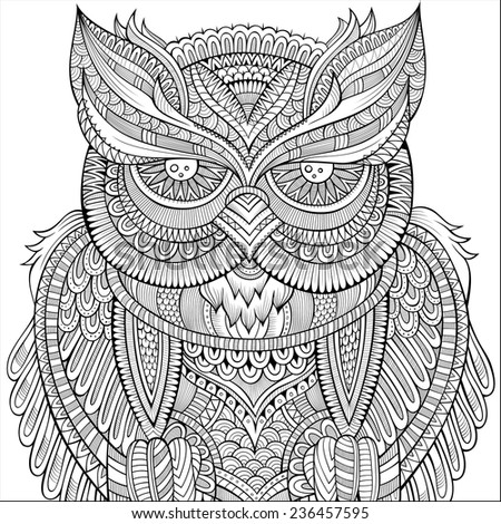 Decorative ornamental Owl background. Vector illustration - stock vector