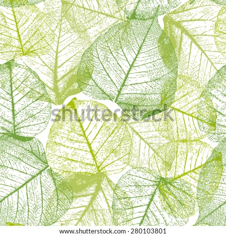 Decorative ornamental seamless floral pattern. Endless elegant texture with leaves.  - stock vector