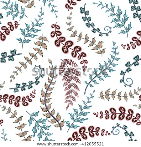 Decorative ornamental seamless spring pattern. Endless elegant texture with blue pink leaves. Tempate for design fabric, backgrounds, wrapping paper, package, covers