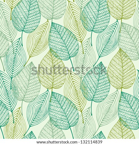 Decorative ornamental seamless spring pattern. Endless elegant texture with leaves. Tempate for design fabric, backgrounds, wrapping paper, package, covers - stock vector