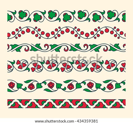 Decorative ornamental seamless vector borders. Vintage tape ornament. Set of floral tape ornaments