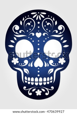 decorative ornamental sugar skull for laser cutting paper calavera halloween decoration fancy skeleton head