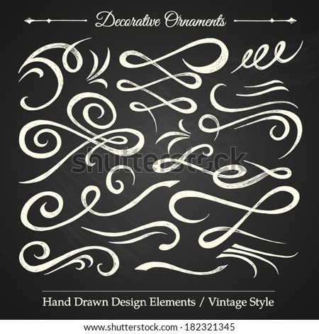 DECORATIVE ORNAMENTS - hand drawn design elements vintage style on chalkboard - stock vector