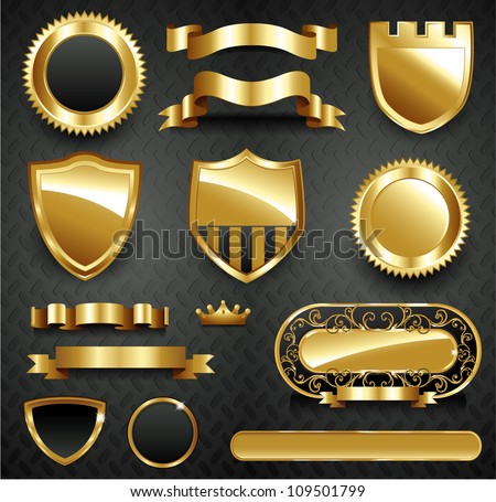 Decorative ornate gold frame collection set - stock vector