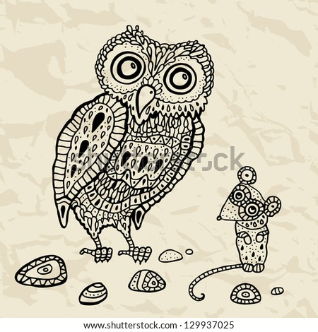 Decorative Owl and  Mouse. Vector Funny cartoon illustration. - stock vector