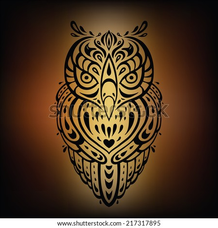 Decorative Owl. Tribal Vector illustration. - stock vector