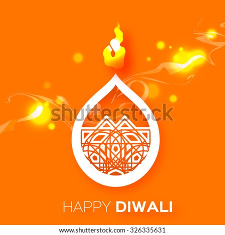 Decorative Paper Diwali Diya - Oil Lamp Design. Vector illustration - eps10 - stock vector