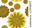decorative patchwork sunflower ornament on white background, - stock vector