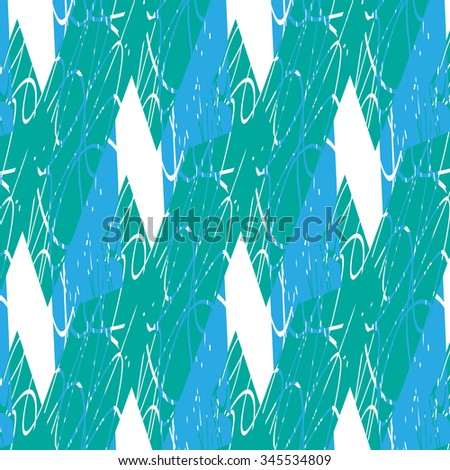 Decorative pattern of intersecting polygonal, pointed, rough, rounded colorful segments of different shapes that create elongated, flattened rectangles on a white background on the diagonal.  - stock vector