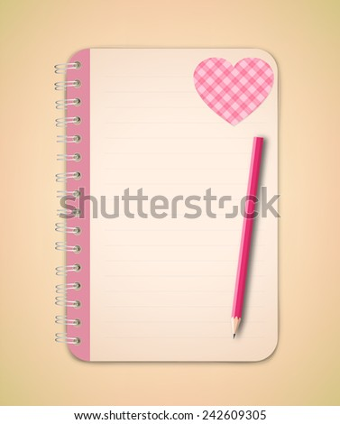 Decorative Pattern red heart on the pink blank page of notebook with pencil - stock vector