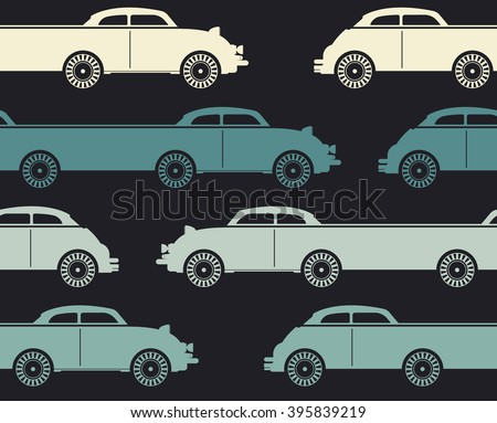 Decorative pattern with colorful retro cars can be used for wallpaper, retro card,  linen,  tissue, design fabric and more creative designs.