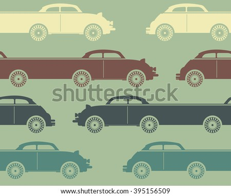 Decorative pattern with colorful retro cars on light green background. Template can be used for  linen , wallpaper, tissue, design fabric and more creative ideas.