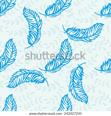 Decorative pattern with feathers. Hand-drawing. Seamless pattern for fabric, paper and other printing and web projects. - stock vector