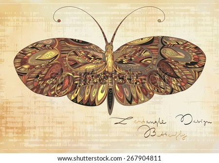 Decorative patterned butterfly on grunge background - stock vector