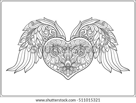 Decorative patterned love heart angel wings stock vector for Angel wings coloring pages