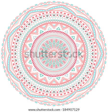 Decorative pink and blue round pattern frame on white background. Vector illustration for cute feminine and baby design. Dot and wave shapes. Oriental rug / napkin. Tribal ethnic ornamental textile. - stock vector