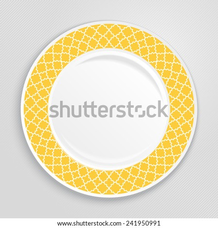 Decorative plate with patterned border, on gray background, top view. Vector illustration. - stock vector