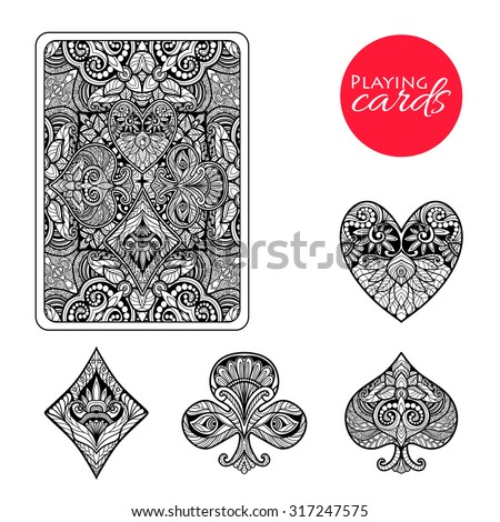 Decorative playing card suits set with hand drawn ornament isolated vector illustration - stock vector