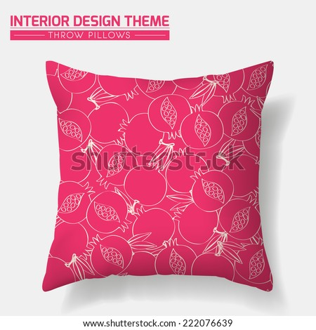 Decorative Pomegranate Throw Pillow design template in pink. Original Pomegranate pattern is masked. Modern interior design element. Creative Sofa Toss Pillow. Vector design is layered, editable.  - stock vector