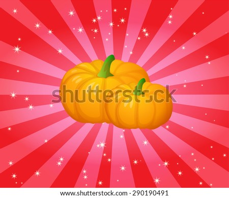 Decorative Pumpkins with attractive background - stock vector