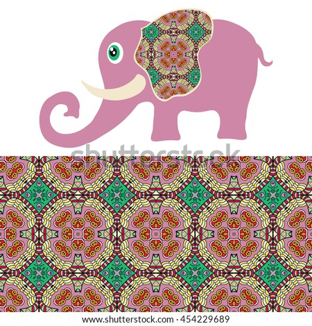 Decorative purple elephant. Vector cartoon animal with seamless floral geometric pattern, tribal ethnic ornamental border, isolated elements for scrapbook, invitation or greeting card design - stock vector