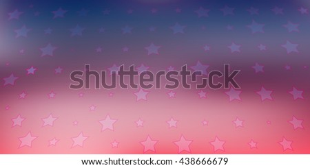 Decorative red blue background, with stars of various sizes - stock vector