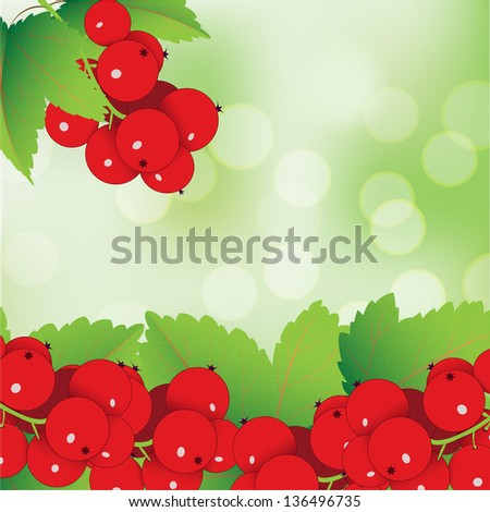 decorative red currant - stock vector