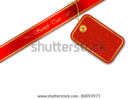 Decorative Red Tag with Silky Ribbon (EPS10 Vector) - stock vector