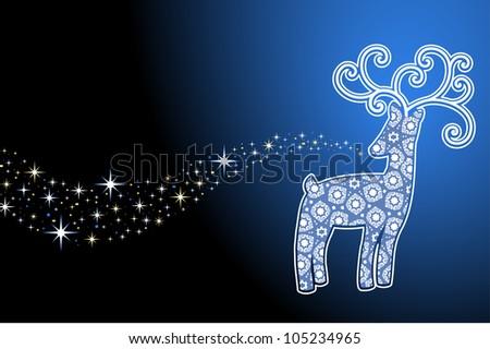 decorative  reindeer with stars - stock vector