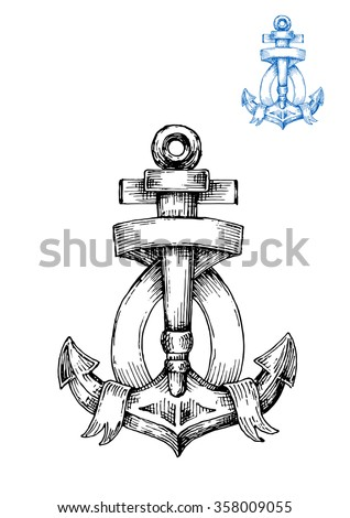 Decorative retro anchor sketch with ribbon banner, arranged around central shank and flukes. Nautical emblem in engraving style - stock vector