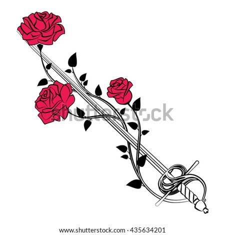 Decorative roses with sword. Blade entwined roses. Floral design elements. Vector illustration - stock vector