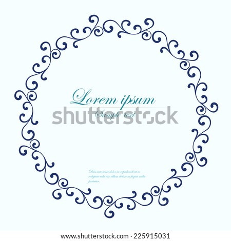Decorative round frame. Abstract vector floral ornament. Lace pattern ...