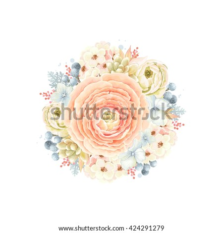 Decorative round ornament of flower Ranunculus orange color, succulent, leaves and Silver Brunia, floral vector illustration in vintage watercolor style. - stock vector