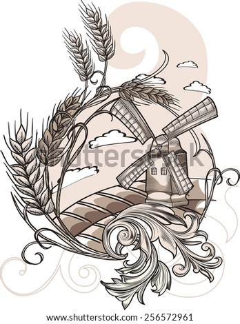Decorative rural landscape with windmill - stock vector