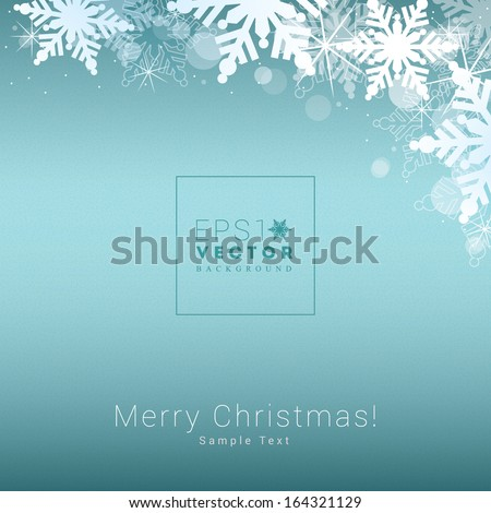 Decorative scalable minimal christmas background of snowflakes and bokeh lights for web site backgrounds, christmas layouts, brochures - blue edition - stock vector
