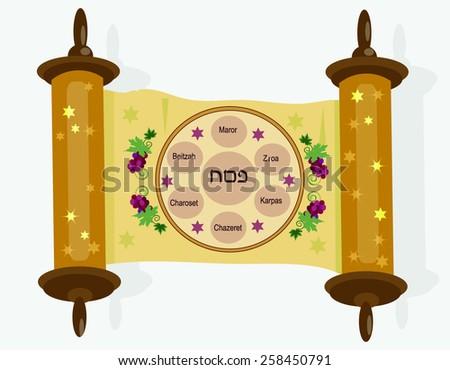 Decorative Scroll Symbols Passoverwhite Background Stock Vector