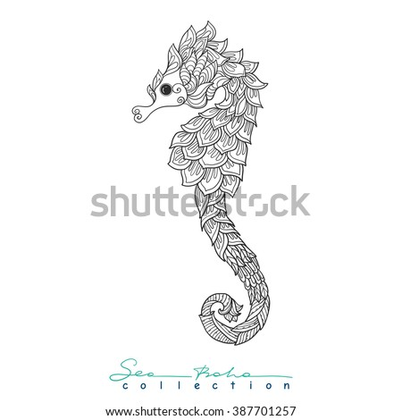 Decorative Sea Horse Outline Drawing Coloring Stock Vector 387701257