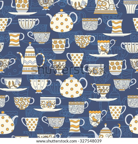 Decorative seamless background with teacups, teapots and plates in white, blue and yellow colors on dark blue backdrop - stock vector