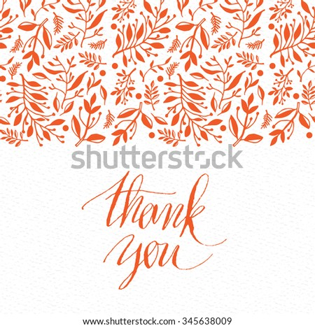 Decorative seamless border with hand drawn leaves and plants, could be used as greeting card or invitation - stock vector