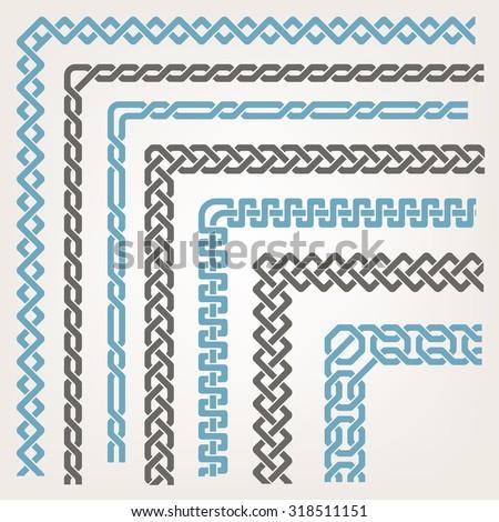 Decorative seamless Islamic ornamental border with corner - stock vector