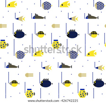 Decorative seamless marine colorful fish seamless pattern. Underwater background. Hand drawn corals, seaweeds and fish isolated on white. - stock vector