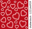 Decorative seamless ornamental pattern with red background and white hearts. Valentine`s day. - stock photo