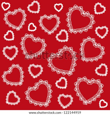 Decorative seamless ornamental pattern with red background and white hearts. Valentine`s day. - stock vector