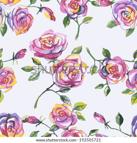 Decorative seamless pattern with beautiful shabby roses - stock vector