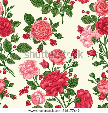 Decorative seamless pattern with beautiful shabby roses.  Elegance floral vector illustration. - stock vector