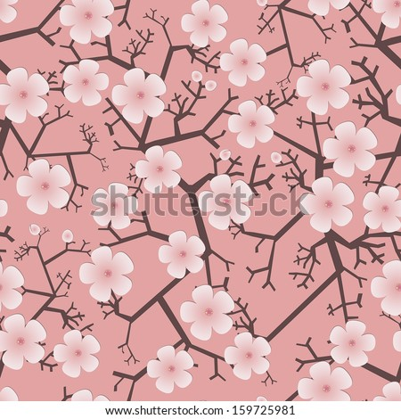 decorative seamless pattern with blooming fruit trees - stock vector