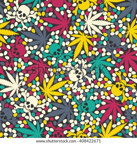 Decorative seamless pattern with colorful skulls, seeds, maryjuana leaves. Vector seamless pattern