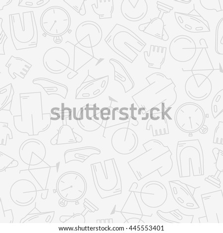 Decorative seamless pattern with cycling attributes. For wallpaper or wrapping. Healthy lifestyle or bicycle race concept. Endless trendy background with elements made in modern thin line style vector - stock vector